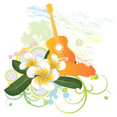 Tropical background with guitar — Stock Vector