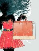 Watercolor shopping girl silhouette — Stock Photo