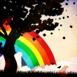 Stock Photo: Grunge tree silhouette and rainbow