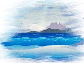Grunge islands in ocean — Stock Photo