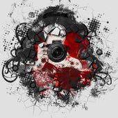 Colorful girl photographer illustration — Stock Photo