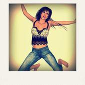Jumping girl photo card — Stock Photo