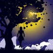 Girl on swing silhouette at night — Stock Vector