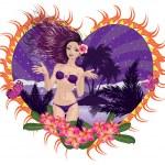 Island girl in violet bikini — Stock Vector #24859369