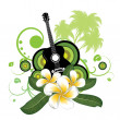 Plumeria flowers and guitar - Stock Vector