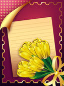Card with tulips — Stock Photo