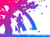 Colorful girl on swing silhouette — Stock Photo