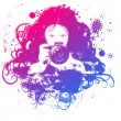 Colorful girl photographer illustration - Stock Photo