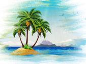 Grunge tropical island in the ocean — Zdjęcie stockowe