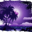 Grunge tropical island at night — Stock Photo