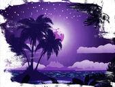 夜のグランジの熱帯の島 — ストック写真