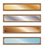 Metal plates with wood frames — Stock Vector