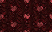 Red curtain with heart pattern — Stock Photo