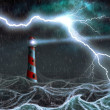 Stock Photo: Lighthouse in the storm