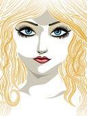 Blond girl with blue eyes — Stock Vector