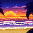 Sunset on beach with palms — Stock Photo