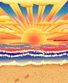Tropik sahilde günbatımı — Stok fotoğraf