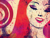 Girl with red hair and closed eyes — Stock Photo