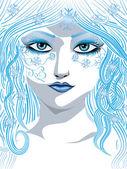青い冬の女の子 — ストックベクタ