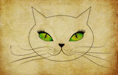 Grunge cat face with green eyes — Stock Photo
