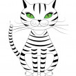 Stock Vector: Striped cat
