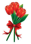 赤の弓とチューリップの花束 — ストックベクタ