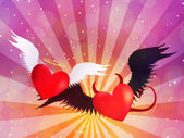 Good and evil hearts background — Stock Photo