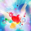Red heart with angel wings — Stock Photo #27965959