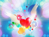 Red heart with angel wings — Stock Photo