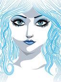 Ragazza inverno blu — Vettoriale Stock