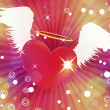 Stock Photo: Shiny heart with angel wings