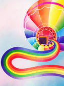 Air balloon with rainbow — Stock Photo