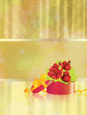 Gift box with roses on gold background — Stock Photo