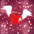 Shiny heart with angel wings — Stock Photo