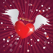Shiny heart with angel wings — Stock Vector