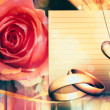 Stock Photo: Wedding card with rose
