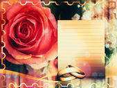 Wedding card with rose — Stock Photo