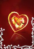 Card with wedding rings in heart — Стоковое фото