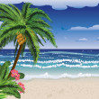 Stock Vector: Palm tree on beach