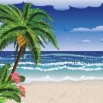 Palm tree on beach — Stock Vector #28835159