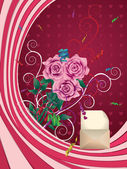 Greeting card with pink roses — Stock Vector