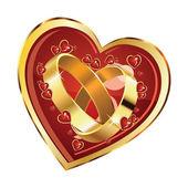 Wedding rings in heart — Stock Vector