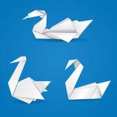 Origami swans — Stock Vector