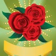 Card with red roses — Stock Vector