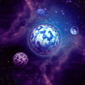 Purple space clouds and planets — Stock Photo