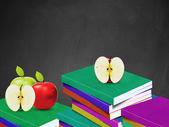 Blackboard and books — Stock Photo