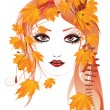 Autumn floral girl — Vector de stock #30263069