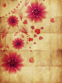 Pink flowers and hearts on paper — Stock Photo