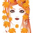Autumn floral girl — Vector de stock #30599721