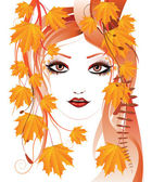 Autumn floral girl — Vector de stock